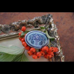 Vintage Michaela Frey blue enamel pin